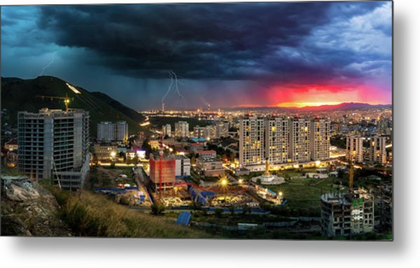 Metal Print featuring the photograph Ulaanbaatar Sunset Thunderstorm by Geoffrey Lewis