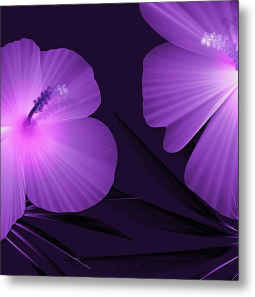 Ultraviolet Hibiscus Tropical Nature Print  Metal Print