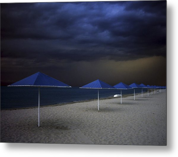 Umbrella Blues Metal Print by Aydin Aksoy