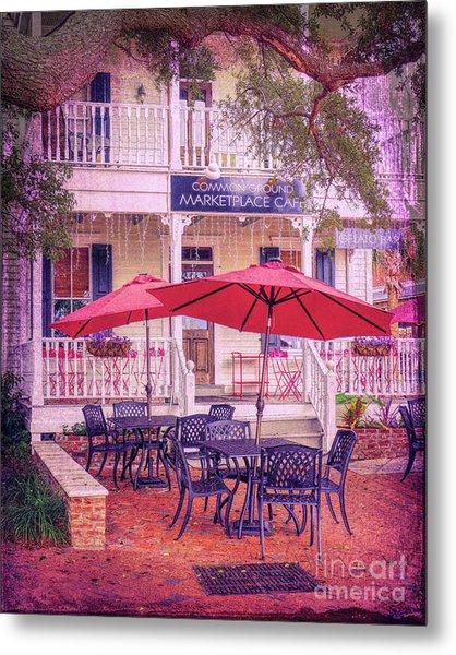 Umbrella Cafe Metal Print