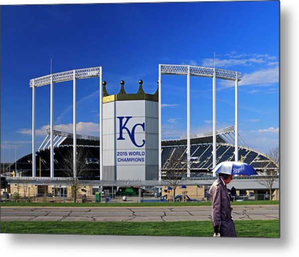 Umbrella Man At Kauffman Stadium Metal Print
