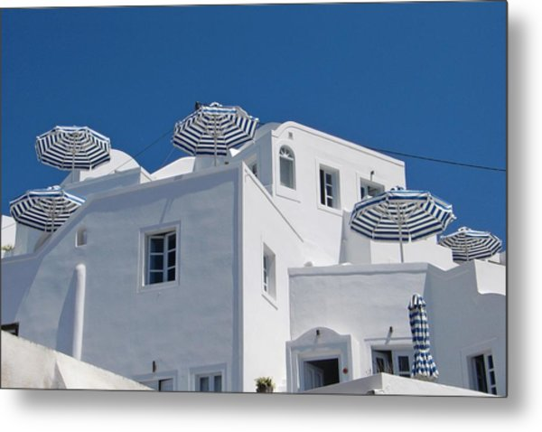 Umbrellas - Santorini, Greece Metal Print