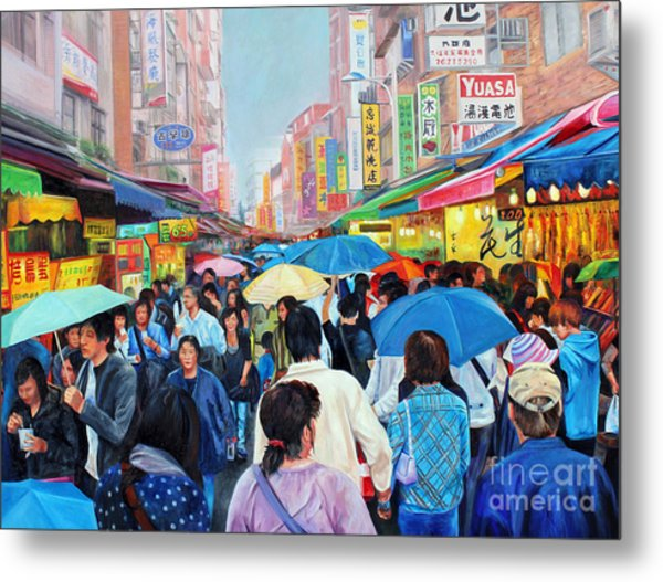 Umbrellas Up In Taiwan Metal Print