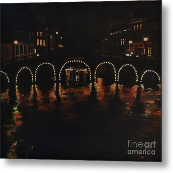 Under A Lighted Bridge In Amsterdam Metal Print