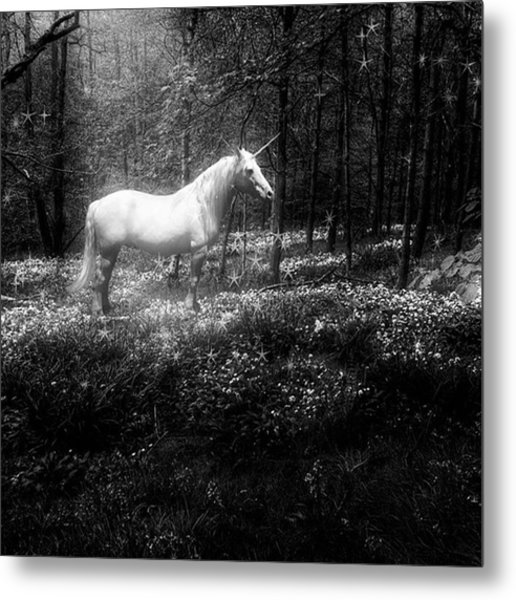 Under A Moonlit Sky  #fantasy #unicorn Metal Print
