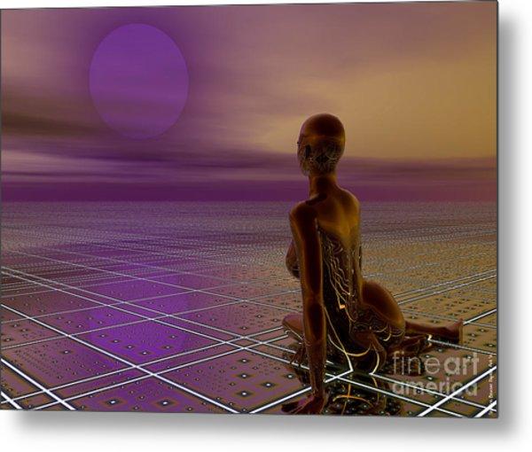 Metal Print featuring the digital art Under A Purple Moon by Sandra Bauser Digital Art