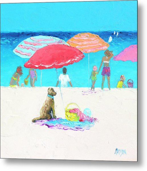 Under A Red Umbrella Metal Print