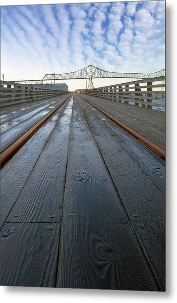 Under Astoria Megler Bridge On Riverwalk Metal Print