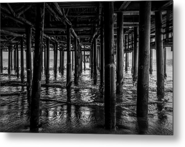 Under The Pier - Black And White Metal Print