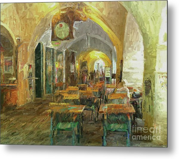 Underneath The Arches - Street Cafe, Prague Metal Print