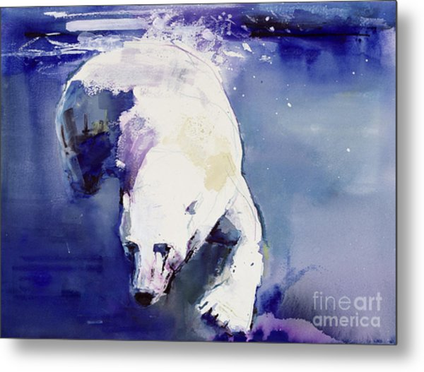 Underwater Bear Metal Print