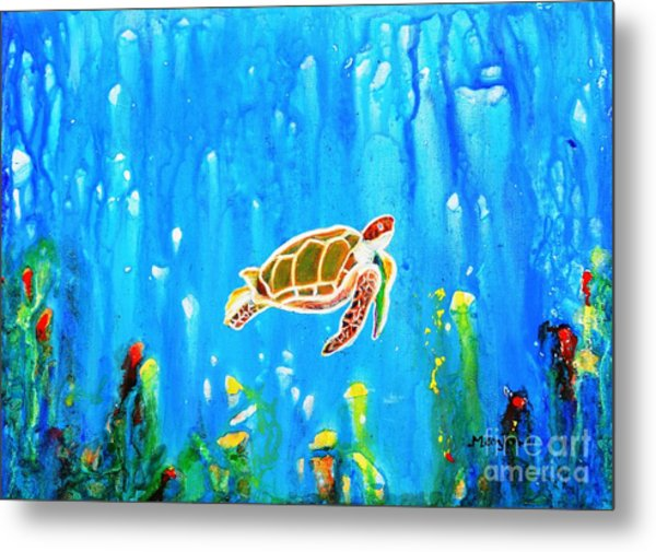 Underwater Magic 5-happy Turtle Metal Print