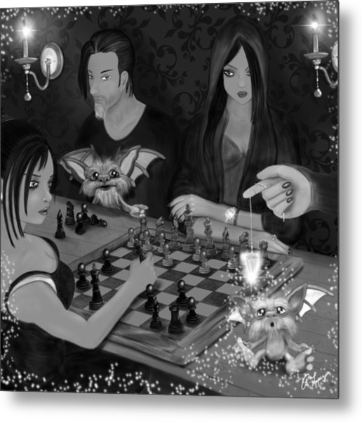Unexpected Company - Black And White Fantasy Art Metal Print
