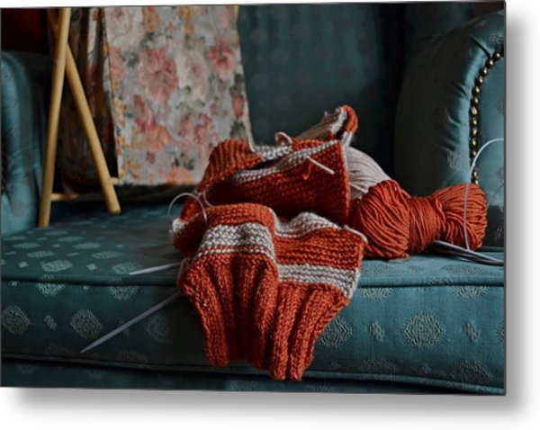 Unfinished Knitting Work Metal Print