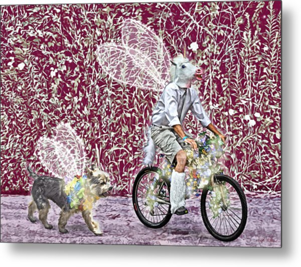 Unicorn And Doggie Fairies Metal Print