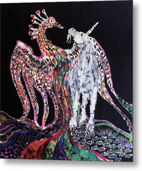 Unicorn And Phoenix Merge Paths Metal Print