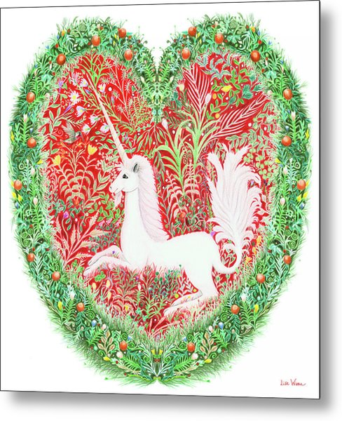Unicorn Heart With Millefleurs Metal Print
