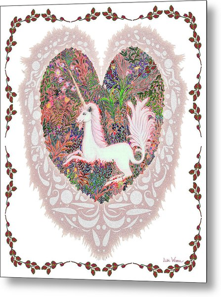 Unicorn In A Pink Heart Metal Print