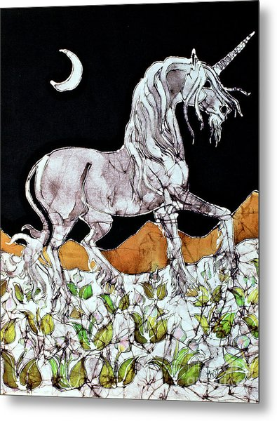 Unicorn Over Flower Field Metal Print