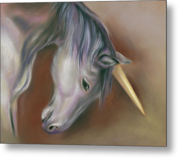 Unicorn With A Golden Horn Metal Print