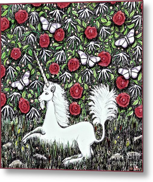 Unicorn With Red Roses And Butterflies Metal Print