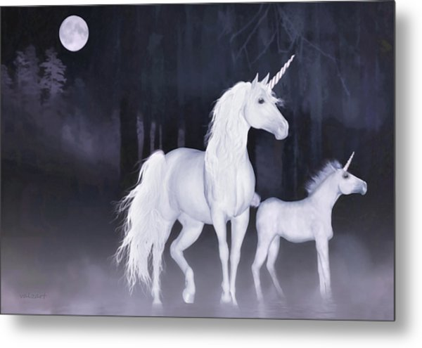 Unicorns In The Mist Metal Print