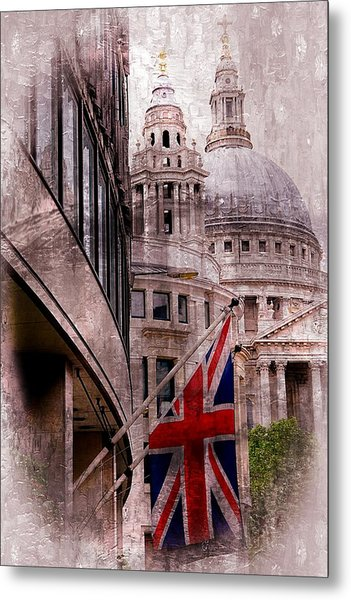 Union Jack By St. Paul's Cathdedral Metal Print