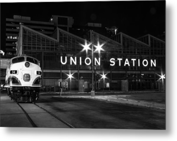 Union Station Night Glow Metal Print