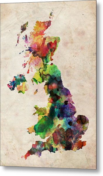 United Kingdom Watercolor Map Metal Print