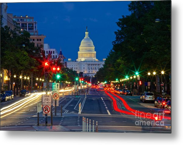 United States Capitol Along Pennsylvania Avenue In Washington, D.c.   Metal Print