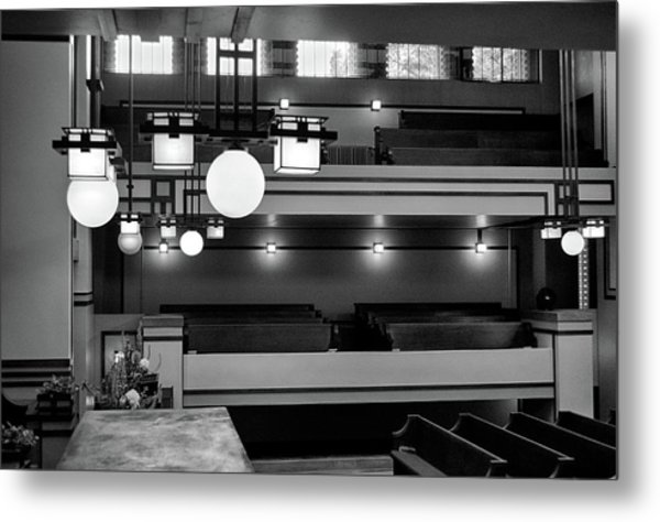Unity Temple Interior Black And White Metal Print
