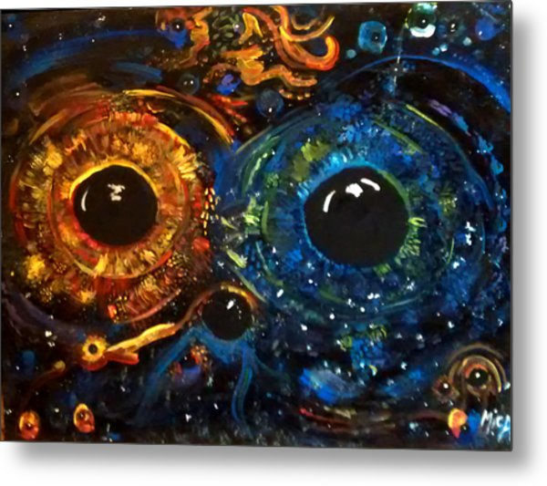 Metal Print featuring the painting Universe Watching by Michelle Audas