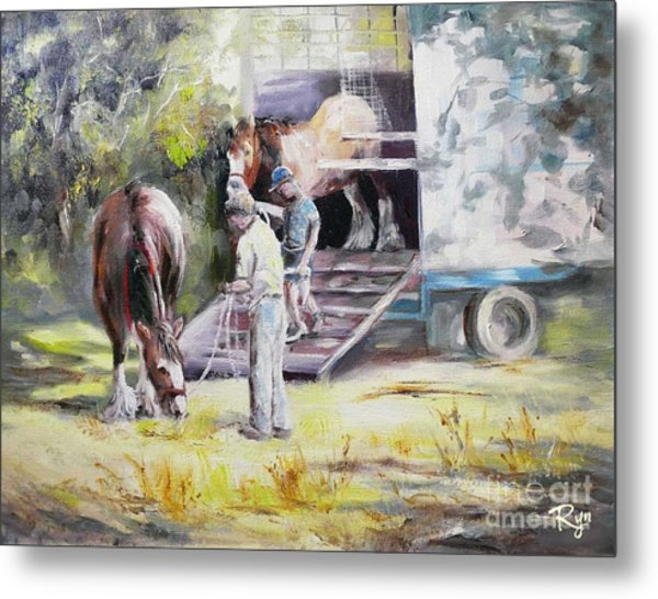 Unloading The Clydesdales Metal Print