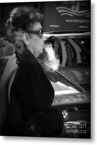 Up In Smoke - Woman With Cigarette Metal Print by Miriam Danar