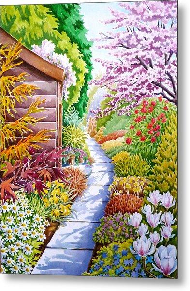 Up The Garden Path Metal Print by Debbie  Diamond