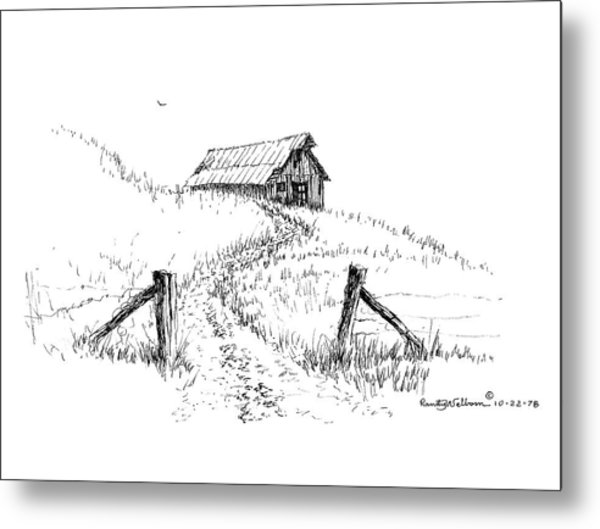 Up The Hill To The Old Barn Metal Print