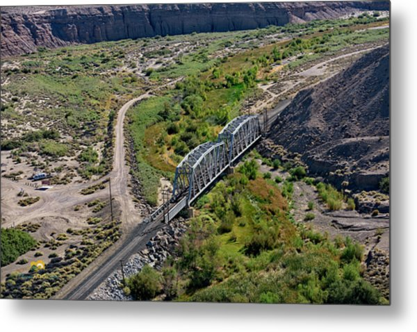 Metal Print featuring the photograph Up Tracks Cross The Mojave River by Jim Thompson