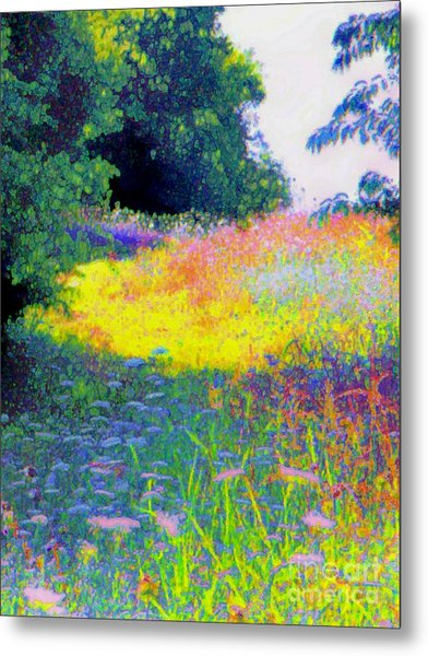 Uphill In The Meadow Metal Print