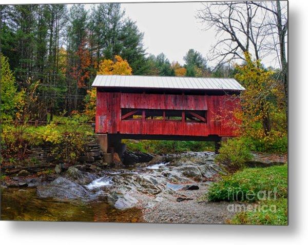 Upper Cox Brook Covered Bridge In Northfield Vermont Metal Print