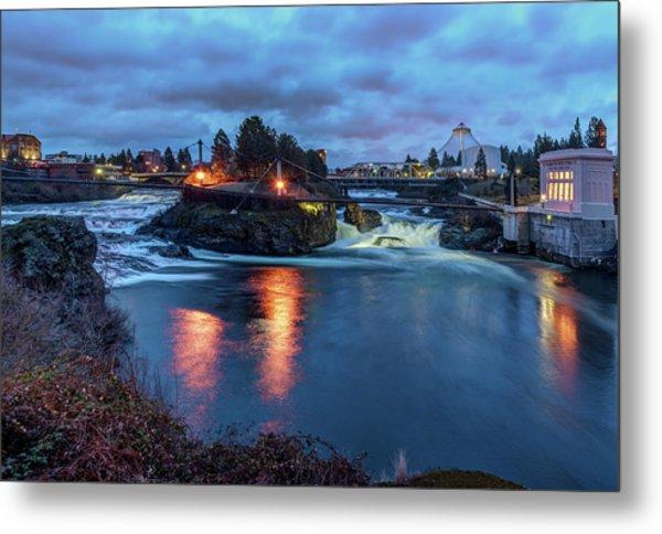 Upper Spokane Falls At Dusk Metal Print