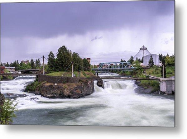 Upper Spokane Falls On A Rainy Day Metal Print
