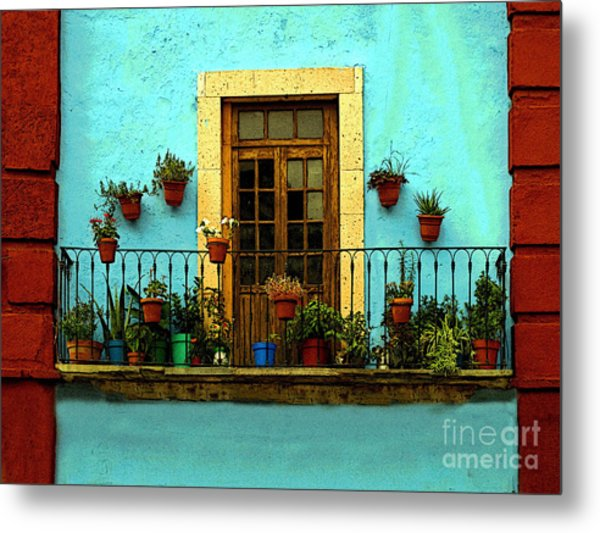 Upper Window In Turqoise Metal Print by Mexicolors Art Photography