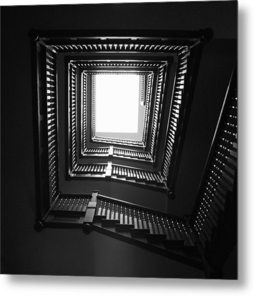 Upstairs- Black And White Photography By Linda Woods Metal Print