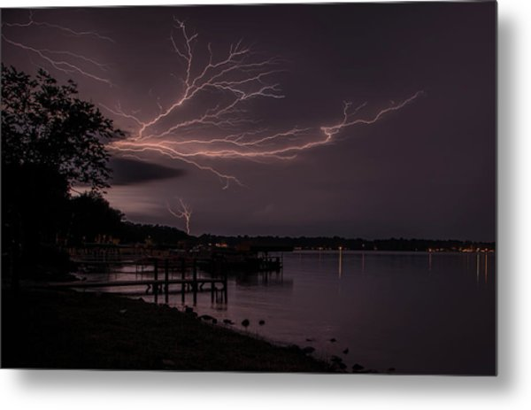 Upward Lightning Metal Print