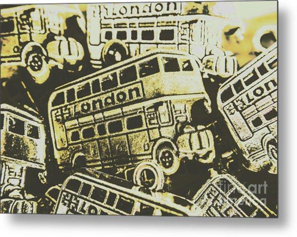 Urban Bus Mural Metal Print
