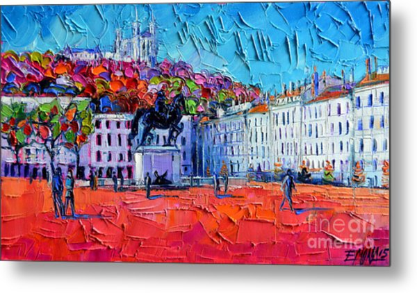 Urban Impression - Bellecour Square In Lyon France Metal Print