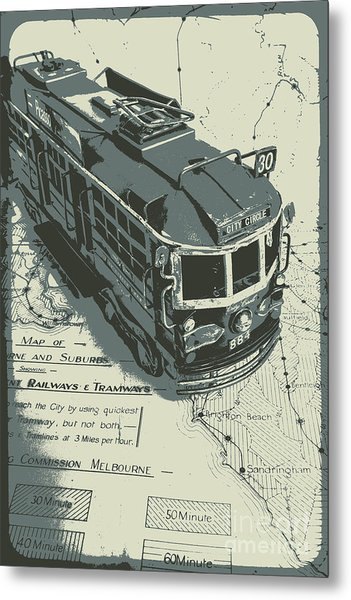 Urban Trams And Old Maps Metal Print