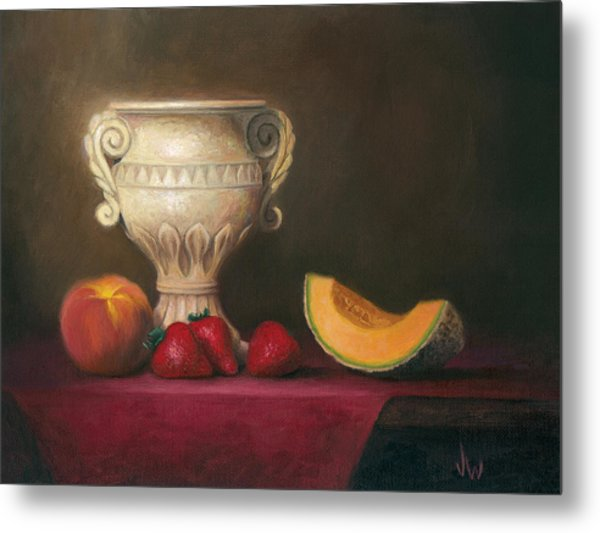 Metal Print featuring the painting Urn With Fruit by Joe Winkler