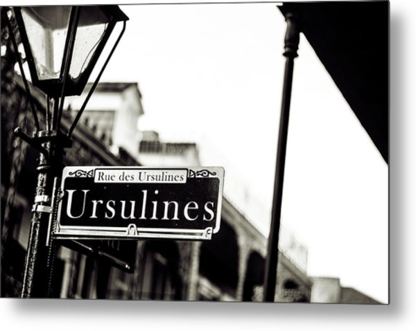 Ursulines In Monotone, New Orleans, Louisiana Metal Print