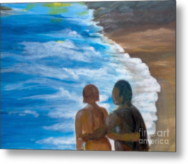Metal Print featuring the painting Us Against The World by Saundra Johnson